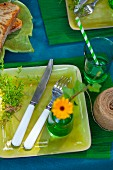 Table festively set in shades of blue and green outdoors