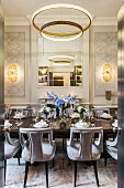 Set table in magnificent dining room