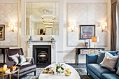 Classic panelled walls in glamorous living room