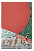 Collage aus verschiedenem Geschenkpapier mit grafischem Muster