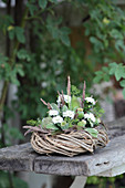 Wreath decorated with white asters and poppy seedheads on garden bench