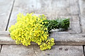 Bunch of rapeseed flowers on wooden boards