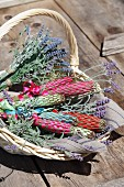 Basket of hand-made lavender wands and lavender