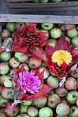 Sträußchen aus Dahlien, Hagebutte und roten Weinblättern