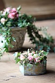 Romantic arrangements of ivy and roses in vintage containers