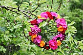 Wreath of hydrangeas and roses in shades of red and orange hung in fruit tree