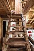 Rustic wooden staircase in chalet