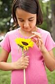 Girl wearing pink T-shirt holding a sunflower