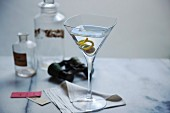 Martini on napkin, opera glasses and tickets
