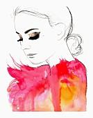 Glamorous woman wearing fluffy pink feathers
