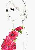 Glamorous woman with long eyelashes wearing pink flowers