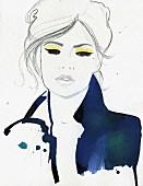Glamorous woman with yellow eyeshadow