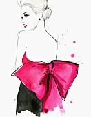 Elegant woman wearing backless evening gown with large pink bow