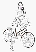 Attraktive Frau mit Fahrrad