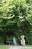 Wooden artworks in garden