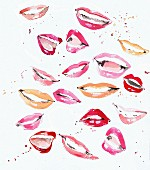 Lots of happy mouths and lips with lipstick