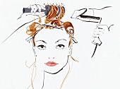 Schöne Frau stylt ihr Haar mit Fön und Bürste