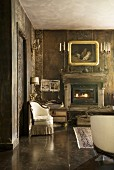 Fireplace, oil painting and vintage ambiance in traditional living room