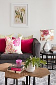 Pink and floral accents in living room
