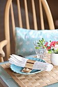 Napkin rings and table mat hand-made from wood veneer