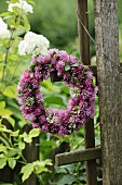 Kleeblütenkranz an verwittertem Holzspalier im Garten