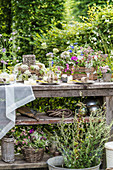 Table set with wildflowers in garden