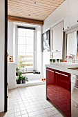Sink unit with red doors