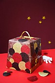 Festively wrapped Panettone box