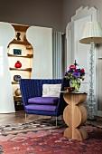 Unusually shaped designer furniture in living room