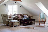 Old-fashioned furniture in attic living room