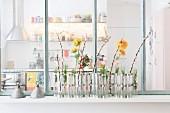 Flower arrangement against interior window with view into kitchen