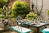 Table set for lunch in garden