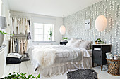 Romantic white and grey bedroom