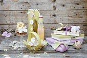 Various gift ideas made from green and lilac paper