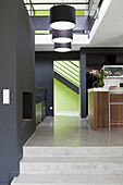 Kitchen counter in open-plan split-level interior