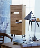 Filing cabinet on castors in modern study