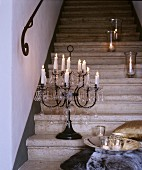 Candle lanterns and candelabra on staircase