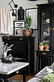 Houseplants on tall black cabinet next to black dresser with coffee table in foreground