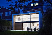 Modern extension with illuminated interior