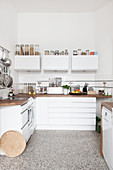 White kitchen in period apartment