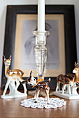 Kitsch, china, Bambi figurines and lace doily