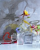Old perfume bottles used as vases