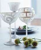 Wine glasses decorated with structured patterns