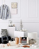Masculine Christmas gift ideas in front of white wall