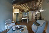 French-style living area with rustic ambiance