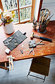 Working table of a jewelry designer