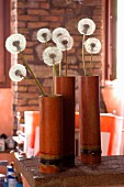 Dandelion clocks in bamboo vases