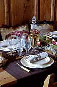 Table festively set in elegant Alpine style