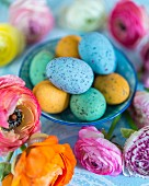 Colourful speckled eggs in bowls amongst ranunculus flowers