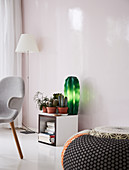 Cactus-shaped lamp and cacti on cubic shelf module